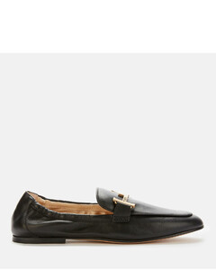 Women's Double T Leather Loafers - Black
