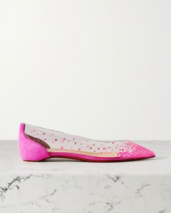Degrastrass带缀饰PVC绒面革尖头平底鞋