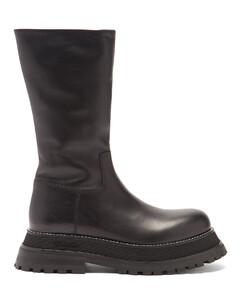 Jeffy flatform-sole leather boots