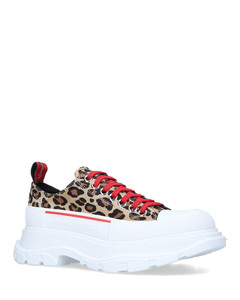 Leopard Print Suede Tread Slick Low-Top Sneakers