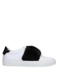 Low-Top Sneakers Logo Fur upper black white