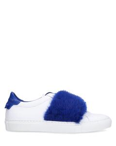 Slip-On calfskin mink Fur Fur upper Logo blue white