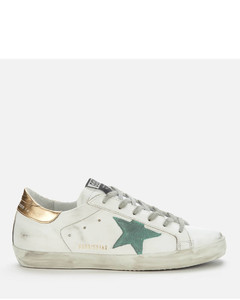 Women's Superstar Leather Trainers - White/Green/Gold