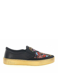 Sneakers Slip On HAPPY leather satin black embroidery sequins gold