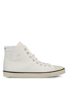 Blank Mid Lace Up Sneaker with Toe Cap in Canvas and Calfskin