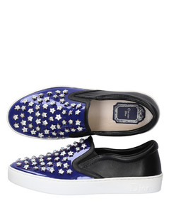 Slip-On Sneakers HAPPY patent leather blue leather black ornament