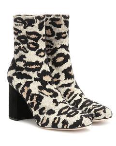 Leopard-print jacquard ankle boots
