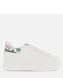 Women's Moby Ethnic Leather Flatform Trainers - White