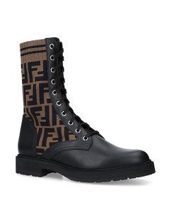 Leather Logo Biker Boots