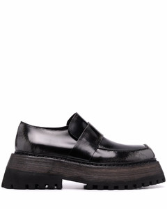 chunky-sole leather loafers