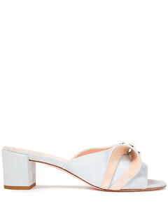 Woman Faux Pearl-embellished Suede Mules