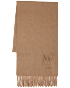 Wkmax70 Fringed Camel Scarf