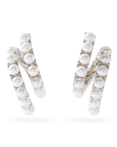 Twisted faux-pearl hoop earrings