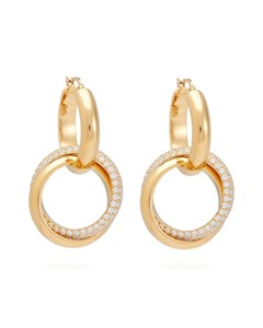 Pavé-set gold-plated silver double-hoop earrings
