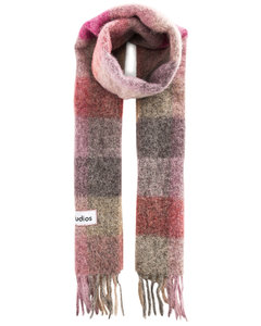 Plaid Fringe Scarf in Gray,Pink,Plaid