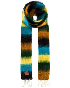 Stripe Mohair Scarf in Blue,Yellow,Stripes