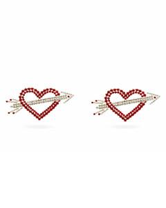 Heart & Arrow crystal-embellished clip earrings