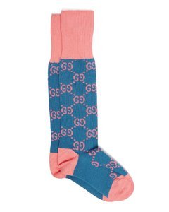 GG-intarsia cotton-blend knee-high socks