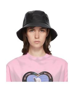 黑色合成皮革徽标渔夫帽