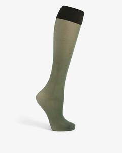 Colour-blocked knee-high woven socks