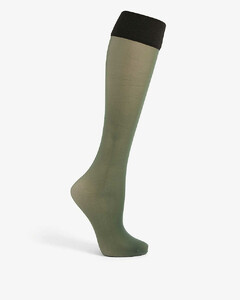 Colour-blocked knee-high woven socks