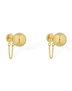 Small Sphere Stud Earrings W/ Chain