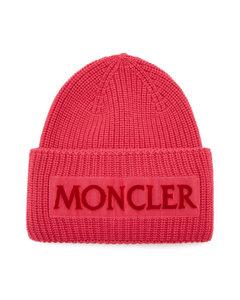 Velvet-logo wool beanie hat