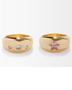 Set of two crystal & gold-plated rings