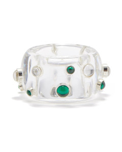 Cubic zirconia, sterling-silver & resin ring