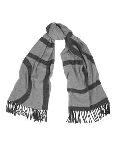 Tonal grey logo wool scarf