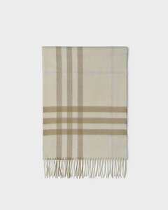 Giant Check Scarf in White and Alabaster Cashmere