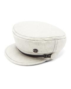 Abby topstitched felt baker-boy hat
