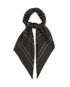 Logo-embroidered silk-twill scarf