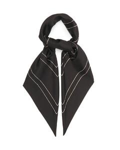 Logo-embroidered silk-twill scarf