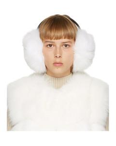 白色狐狸毛耳罩