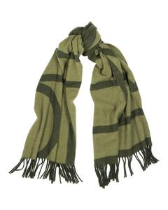 Tonal green logo wool scarf