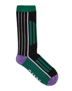Striped ribbed cotton-blend socks