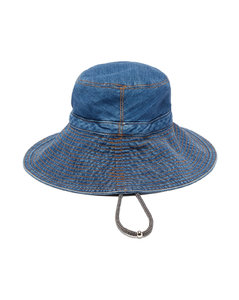 Drawcord cotton-blend denim bucket hat