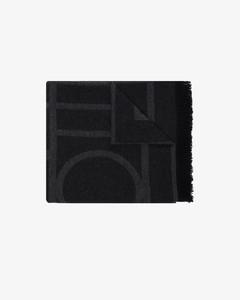 black Como monogram knit scarf