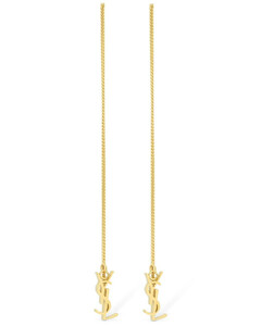 Ysl Logo Long Chain Slide Earrings