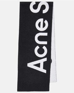 Logo羊毛混纺提花围巾