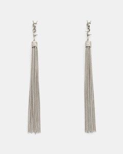 Loulou Chain Tassel Earrings in Silver