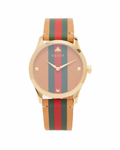 G-Timeless Web-striped leather watch