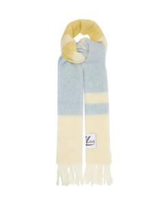 Logo-patch striped scarf