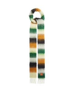 Logo-tab striped fringed scarf