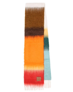 Striped mohair and wool scarf