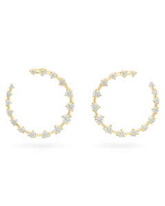 Crescent diamond & 18kt gold hoops