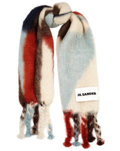 Pattern-intarsia mohair-blend scarf