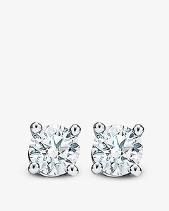 Tiffany Solitaire platinum and 0.22ct round brilliant-cut diamond stud earrings