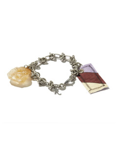 Knotted chain & crystal charm bracelet